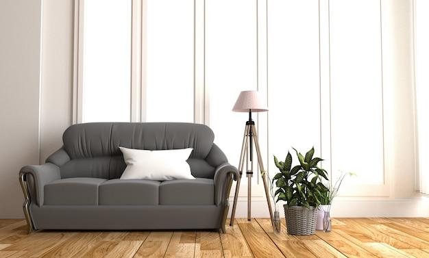 Современный черный тканевый диван в белой комнате интерьер паркет деревянный пол.