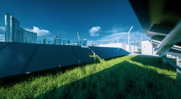 Современная черная бескаркасная ферма солнечных панелей, аккумуляторы энергии и ветряные турбины на свежей зеленой траве под голубым небом - концепция зеленой устойчивой энергетической системы. 3d-рендеринг.