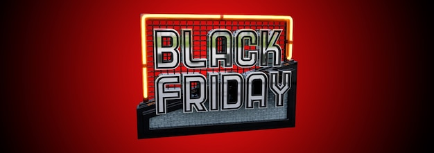 Modern black friday banner design. 3d metallic letters on a red surface. design for poster, brochure, promotion, website.