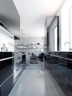 Современный черный интерьер кухни. глянцевые шкафы черного цвета с белой акриловой столешницей. светло-серый полированный бетонный пол. 3d визуализация