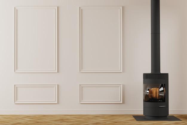 Современный черный металлический камин в интерьере пустой комнаты классический дизайн стен с молдингами d render