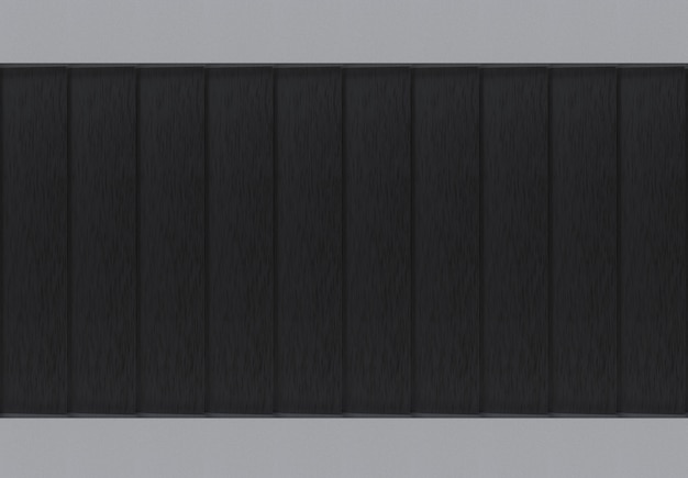 Modern black metal panel plate row wall design background.