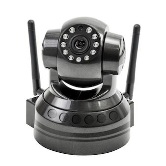 クリッピングパスを白で隔離される現代の黒のワイヤレスセキュリティカメラ