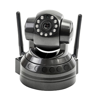 Modern black wireless security camera isolated on white with clipping path