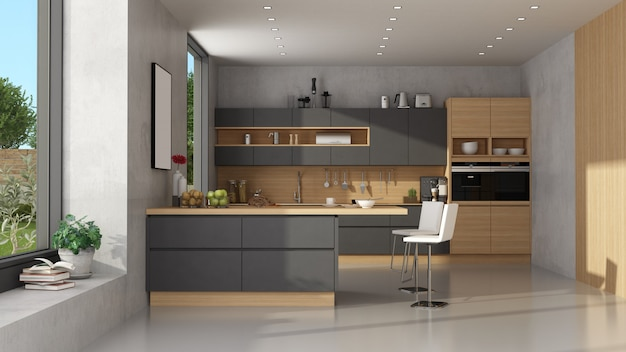 Modern black and wooden kitchen with peninsula