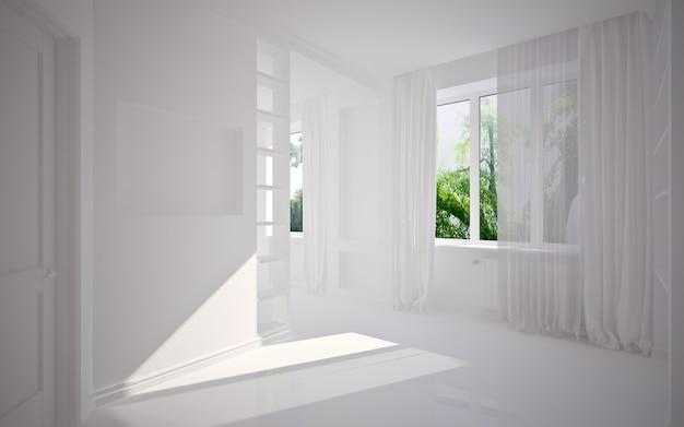 Современный пустой интерьер, 3d визуализация