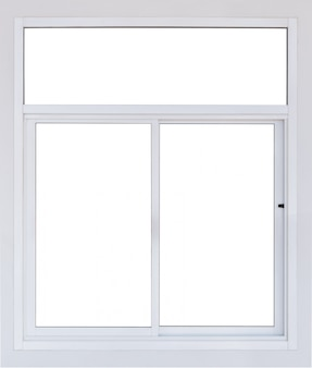 Modern blank pvc window isolated with blank concrete wall, real empty large plastic frame pane of office see through view