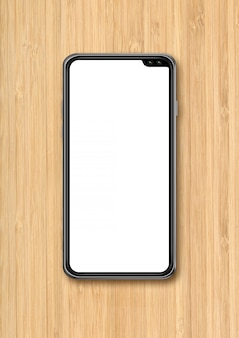 Современный пустой макет смартфона на фоне деревянного стола. 3d визуализация