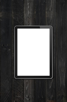 Modern blank tablet pc computer mockup on black wood desk