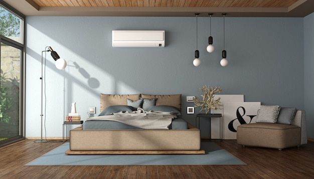 Modern blue and brown master bedroom