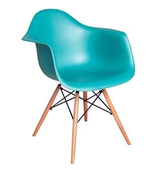 白で隔離のモダンな青い椅子のスツール
