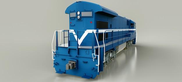 Современный синий тепловоз с большой мощностью и мощностью для перемещения длинных и тяжелых поездов. 3d рендеринг.