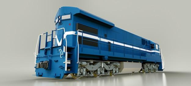 길고 무거운 철도 열차를 이동할 수 있는 큰 힘과 힘을 가진 현대식 청색 디젤 철도 기관차. 3d 렌더링