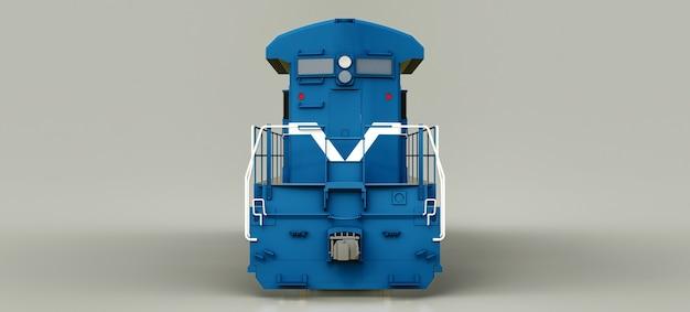 길고 무거운 철도 열차를 움직이는 데 큰 힘과 힘을 가진 현대적인 파란색 디젤 철도 기관차