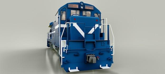 큰 힘과 힘을 가진 현대 블루 디젤 철도 기관차