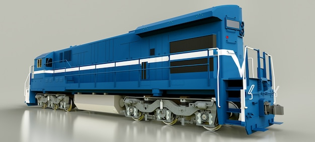 Modern blue diesel railway locomotive with great power and strength for moving long and heavy railroad train. 3d rendering.