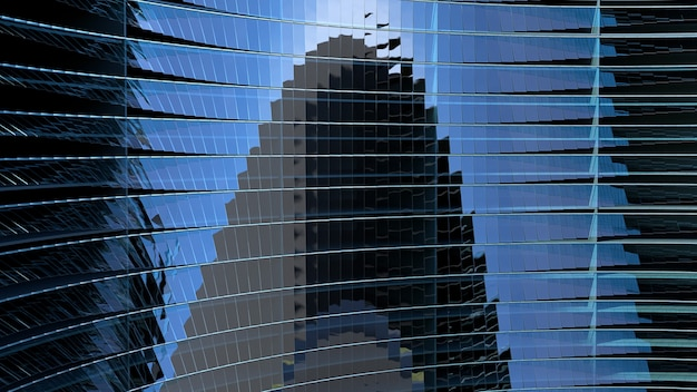 사인파 창 회전 현대 블루 유리 금속 구조. 3d 일러스트