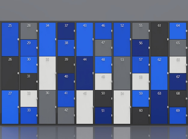 Modern blue, gray and dark color locker boxes wall background