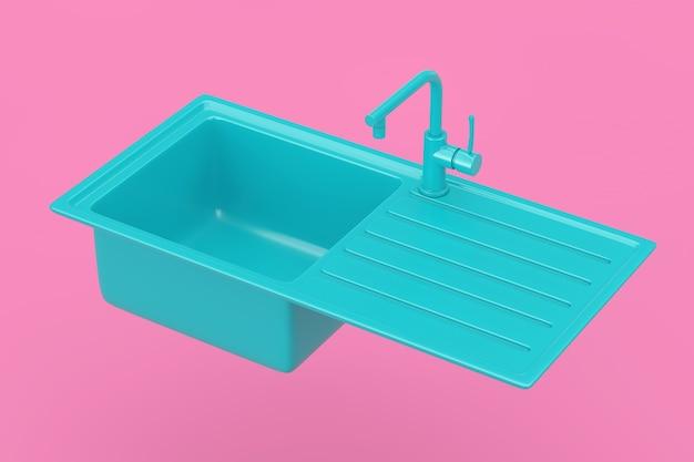 수도꼭지가 있는 현대적인 파란색 주방 싱크대, 분홍색 배경에 이중톤 스타일의 수도꼭지가 있습니다. 3d 렌더링
