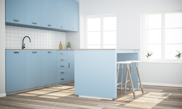 요리 섬 현대 블루 주방