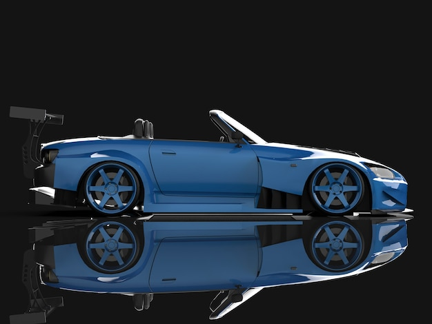 Modern blue sports convertible. open car with tuning. 3d rendering.