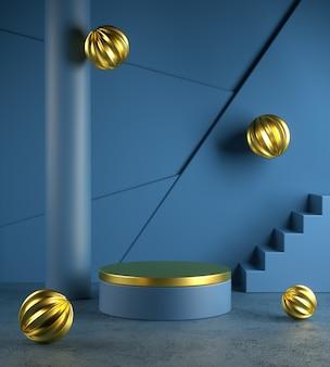 コンクリートの床に落ちる金の抽象的なボールとモダンな青いテンプレートステージ