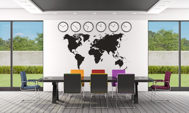 Modern boardroom with black meeting table and colorful office chairs