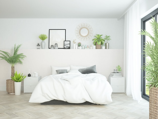 Modern boho bedroom with many plants and cozy bed and view at the garden