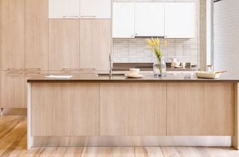 Modern, bright, clean kitchen interior with stainless steel appliances