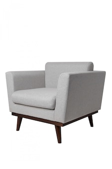 Modern bright grey fabric armchair with wooden legs isolated on white.
