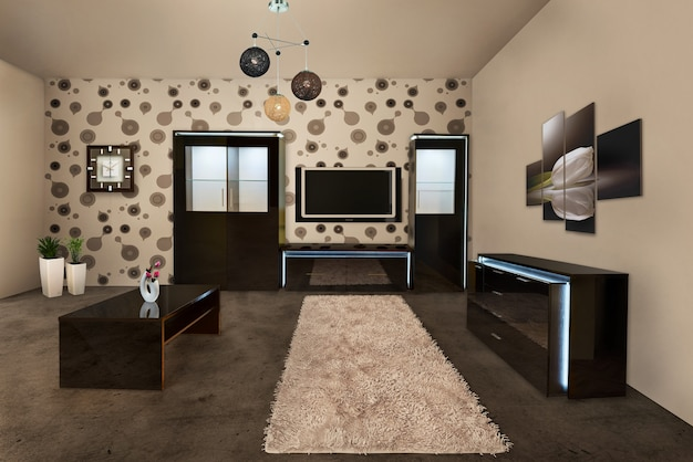 Modern bright interior design of the room.