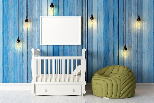 Modern bright interior with blank photo frame. 3d render