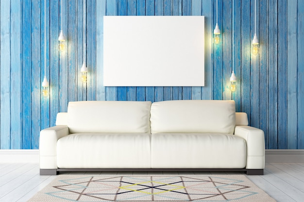Modern bright interior with blank photo frame or canvas. 3d render
