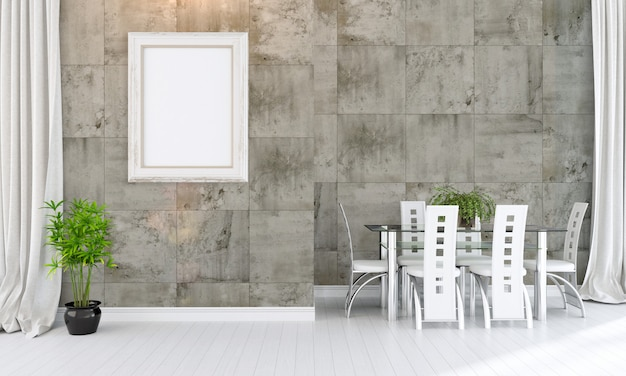 Modern bright interior with blank photo frame