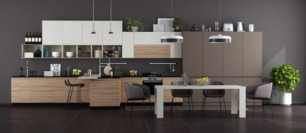 Современная коричнево-белая кухня с обеденным столом