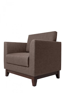 Modern brown fabric armchair isolated on white.