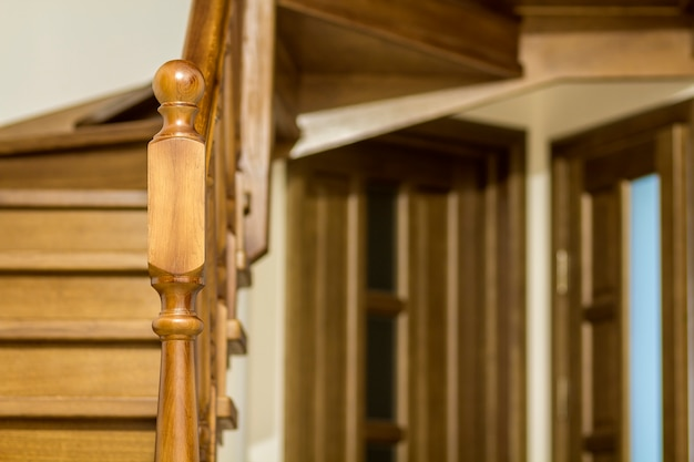 Modern brown oak wooden stairs