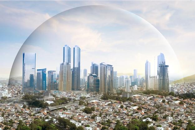 モダンな建物と高層ビルが街のドームを保護して眺める