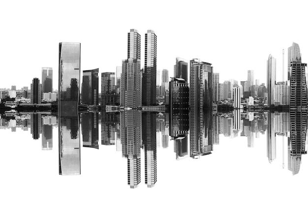 흰색 바탕에 반사와 현대적인 건물과 고층 빌딩보기
