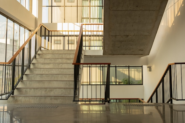Modern building interior emergency exit staircase.