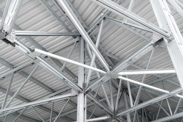 Modern building roof construction urban background metal lines building