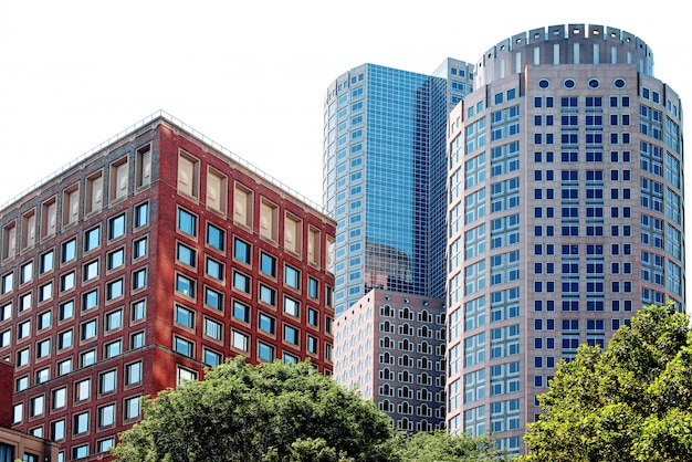 Modern buildings of different shapes in boston