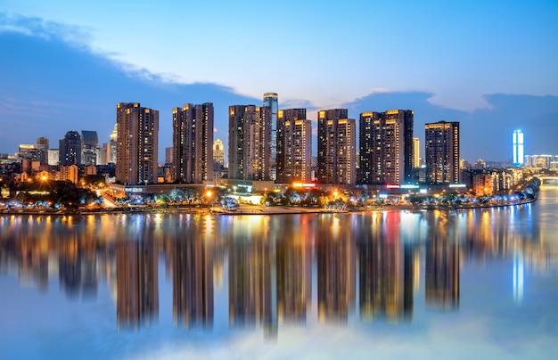 Modern buildings and reflections, liuzhou, china.