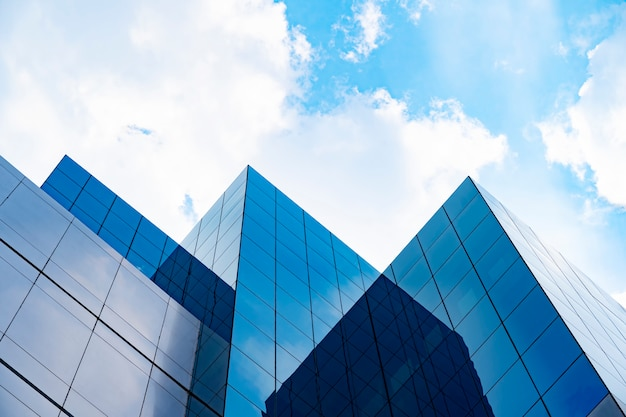 Modern buildings with blue sky and cloud in sunny day