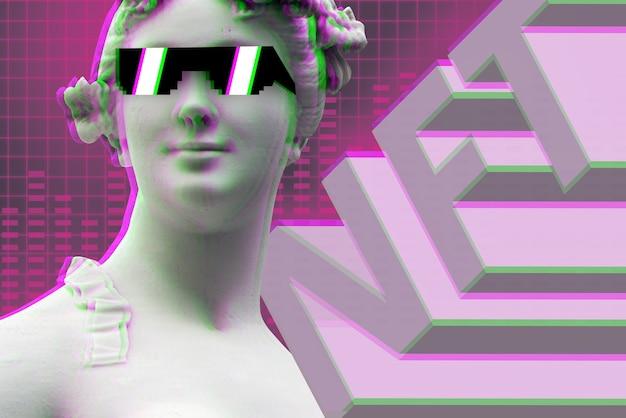 Невменяемый жетон современного бизнес-искусства nft с портретом статуи в очках