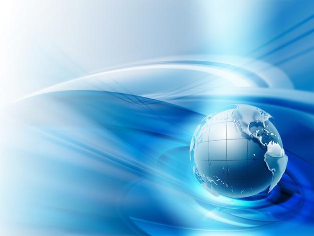 파란색 배경에 행성과 현대 사업 배경