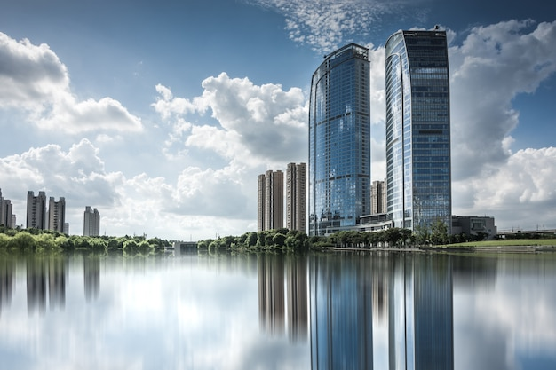 Modern business building by the small lake