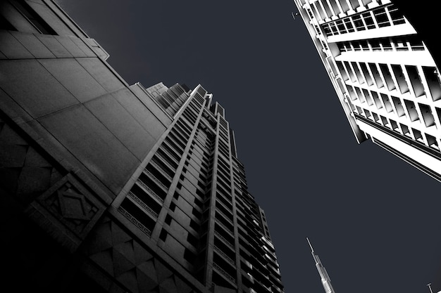 Modern business office skyscrapers, looking up at high-rise buildings in commercial district