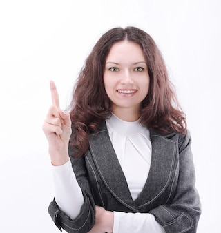 Modern business woman pointing at copy space.isolated on white background
