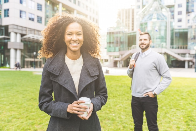 Modern business woman portrait with a man